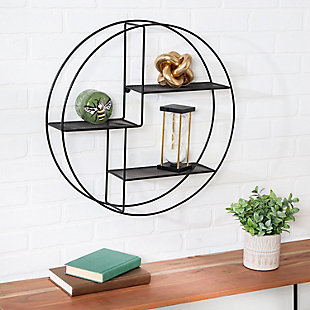 Honey-Can-Do Rustic Circular Wall Shelf, , rollover