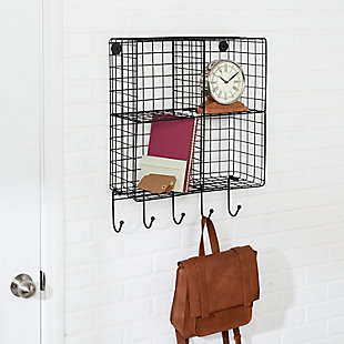 Honey-Can-Do 4-Cubby Wall Shelf with Hooks, , rollover