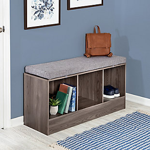 Honey-Can-Do Entryway Bench with Storage Shelves, Farmhouse Gray, , rollover