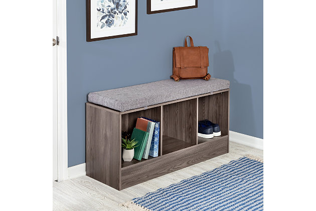 Honey-Can-Do Entryway Bench with Storage Shelves, Farmhouse Gray, , large