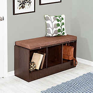 Honey-Can-Do Entryway Bench with Storage Shelves, Deep Espresso, , rollover