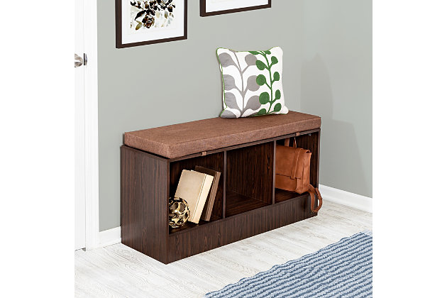 Honey-Can-Do Entryway Bench with Storage Shelves, Deep Espresso, , large