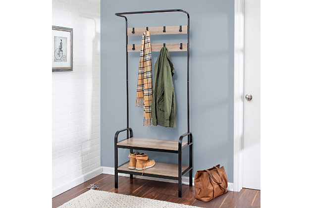 Honey-Can-Do Entryway Organizer with Hooks And Shoe Storage, , large