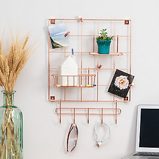 Honey-Can-Do 8-Piece Copper Wire Wall Grid with Storage Accessories, , rollover