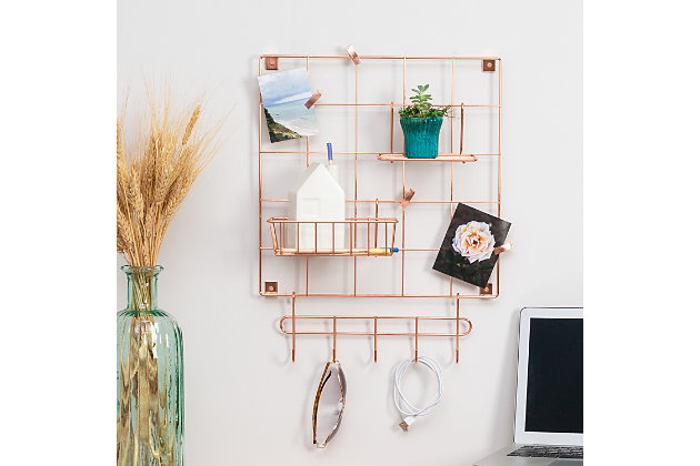 Honey-Can-Do 8-Piece Copper Wire Wall Grid with Storage Accessories, , large
