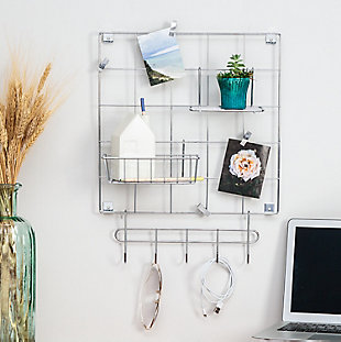 Honey-Can-Do 8-Piece Chrome Wire Wall Grid with Storage Accessories, , rollover