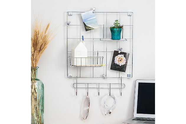 Honey-Can-Do 8-Piece Chrome Wire Wall Grid with Storage Accessories, , large