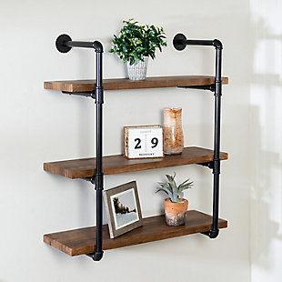 Honey-Can-Do 3-Tier Black Industrial Wall Shelf, , rollover