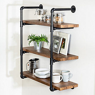 Honey-Can-Do 3-Tier Black Industrial Wall Shelf, , large