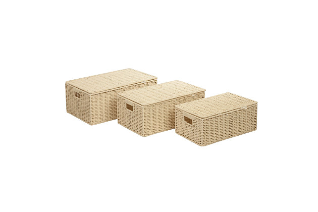 Honey-Can-Do Parchment Cord Boxes (Set of 3), , large