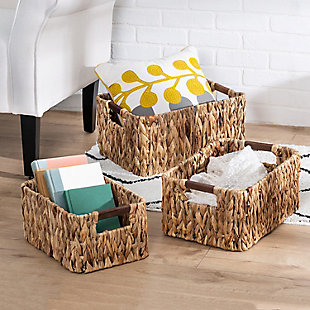 Honey-Can-Do Square Nesting Water Hyacinth Baskets, , rollover