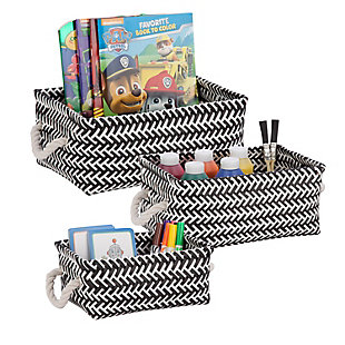 Honey-Can-Do 3-Piece Zig Zag Baskets, Black, , rollover