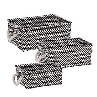 Honey-Can-Do 3-Piece Zig Zag Baskets, Black, , large