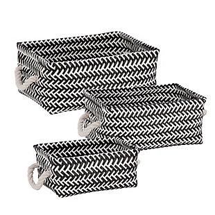 Honey-Can-Do 3-Piece Zig Zag Baskets, Black, , large
