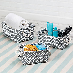 Honey-Can-Do 3-Piece Zig Zag Baskets, Dark Gray, , rollover