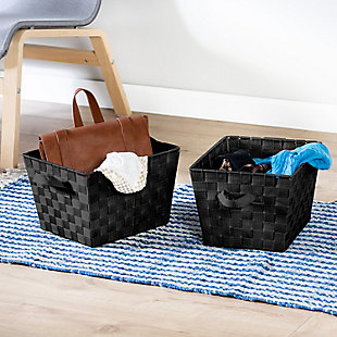 Honey-Can-Do Black Woven Baskets (Set of 3), , rollover