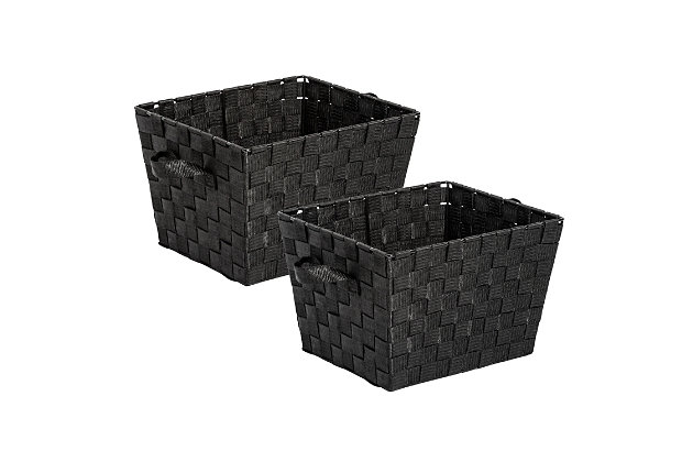 Honey-Can-Do Black Woven Baskets (Set of 3), , large