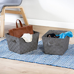 Honey-Can-Do Charcoal Woven Baskets (Set of 2), , rollover
