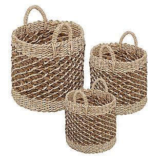 Honey-Can-Do Tea Stained Woven Basket (Set of 3), , large