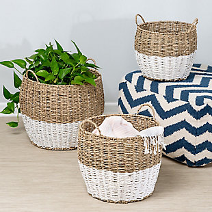 Honey-Can-Do Round Nesting Seagrass 2-Color Baskets with Handles (Set of 3), , rollover