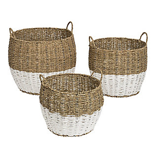Honey-Can-Do Round Nesting Seagrass 2-Color Baskets with Handles (Set of 3), , large