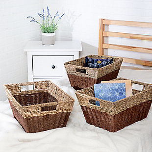 Honey-Can-Do Rectangle Nesting Seagrass 2-Color Baskets with Built-In Handles (Set of 3), , rollover