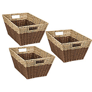 Honey-Can-Do Rectangle Nesting Seagrass 2-Color Baskets with Built-In Handles (Set of 3), , large