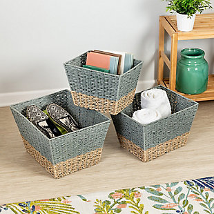 Honey-Can-Do Square Nesting Seagrass 2-Color Baskets (Set of 3), , rollover