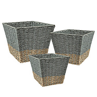 Honey-Can-Do Square Nesting Seagrass 2-Color Baskets (Set of 3), , large