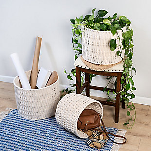 Honey-Can-Do Metal Frame Nesting Round Rope Baskets (Set of 3), , rollover