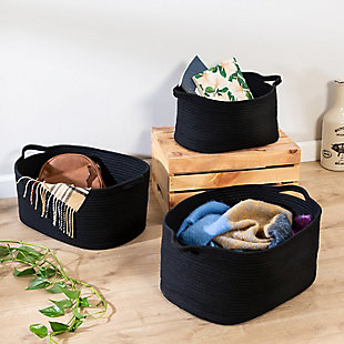 Honey-Can-Do Black Cotton Coil Baskets (Set of 3), , rollover