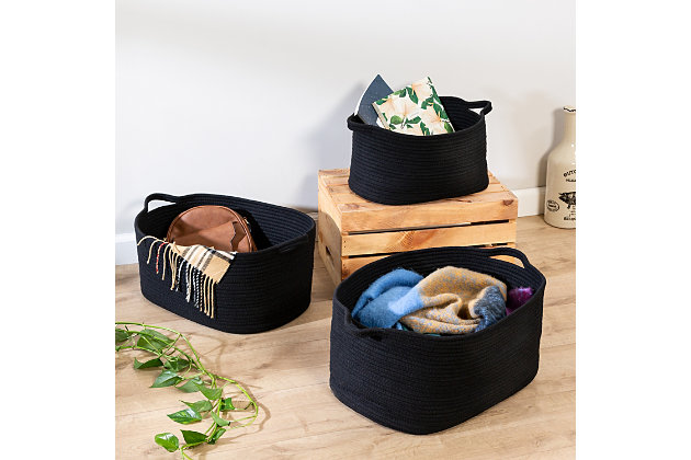Honey-Can-Do Black Cotton Coil Baskets (Set of 3), , large