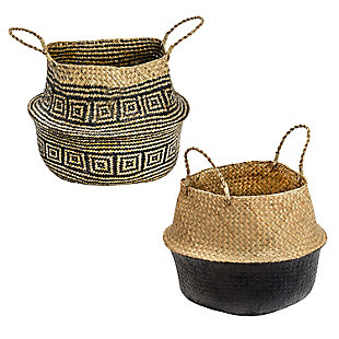 Honey-Can-Do Folding Seagrass Belly Baskets (Set of 2), , large