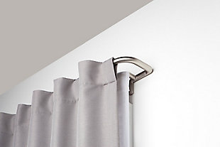 Home Accents Umbra Twilight Room Darkening Double Curtain Rod Set, 28 to 48 Inch, Matte Nickel, Silver Finish, rollover