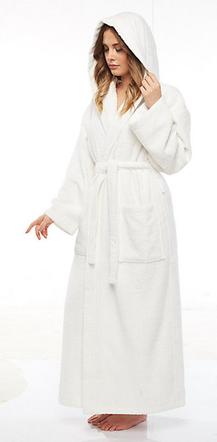Arus Women's Hooded Classic Turkish Cotton Ankle Length Bathrobe (S/M), White, rollover