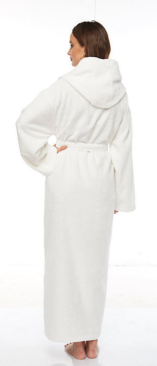 Arus Women's Hooded Classic Turkish Cotton Ankle Length Bathrobe (S/M), White, large