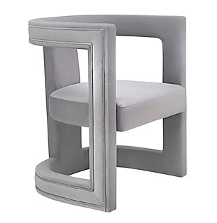 Ada Gray Velvet Chair, Black/Gray, large