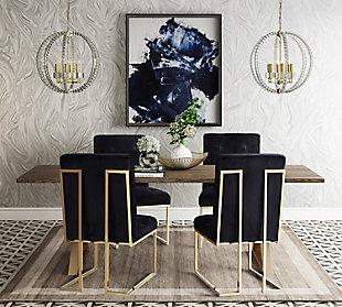 Akiko  Black Velvet Chair, Black/Gray, rollover