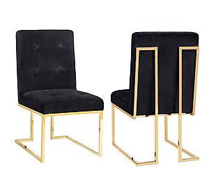 Akiko  Black Velvet Chair, Black/Gray, large