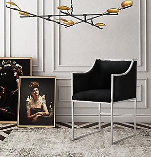 Atara Black Velvet Gold Chair, Black, rollover
