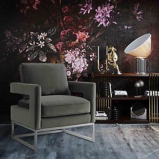 Avery Gray Velvet Chair, Gray, rollover