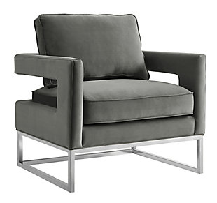 Avery Gray Velvet Chair, Gray, large