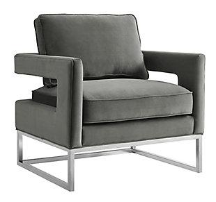 Avery Gray Velvet Chair, Gray, large