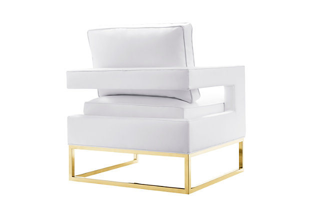 Avery White Leather Chair, White, large