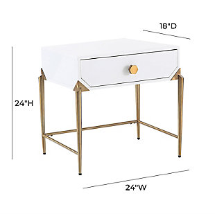 Bajo  White Lacquer Side Table, White, large