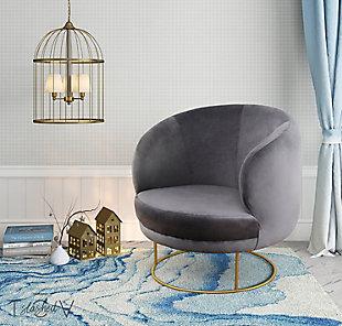 Bella Bella Gray Velvet Chair, Gray, rollover