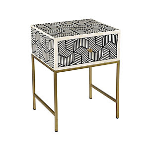 Bone Bone Inlay Side Table, , large