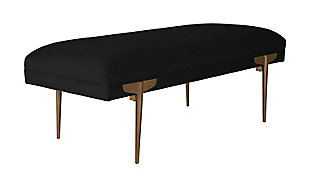 Brno  Black Velvet Bench, Black, large