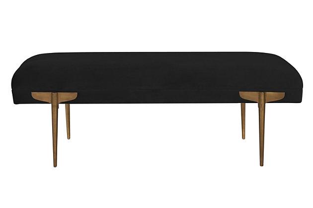 Brno  Black Velvet Bench, Black, large