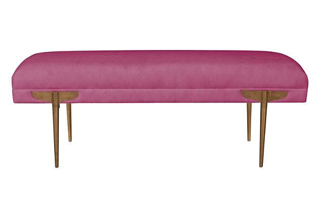 Brno  Rose Waived Velvet Bench, Pink, large